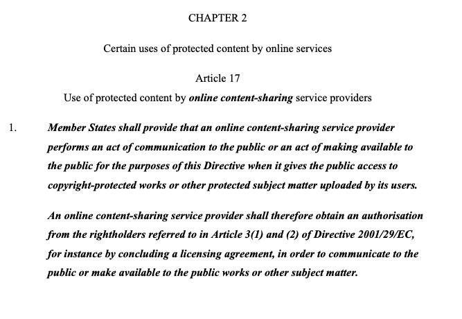 artículo 17 ley del copyright